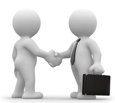 Omini che si stringono la mano
