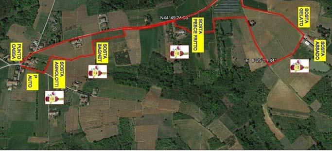 La cartina del percorso della camminata enogastronomica