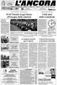 Prima pagina L'Ancora num.40-2017