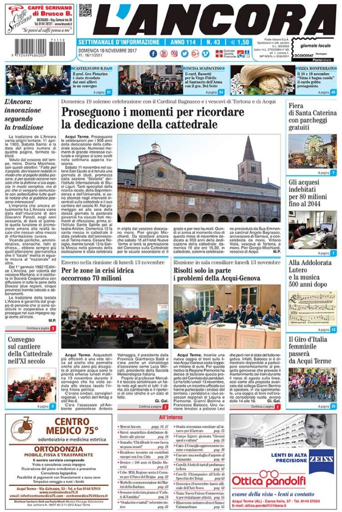 prima pagina de L'Ancora n.43/2017