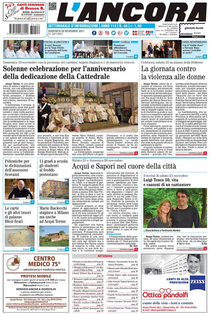 prima pagina de L'Ancora n44/2017