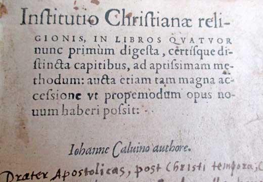 """trattato di teologia, """"L'istituzione della religione cristiana"""""""