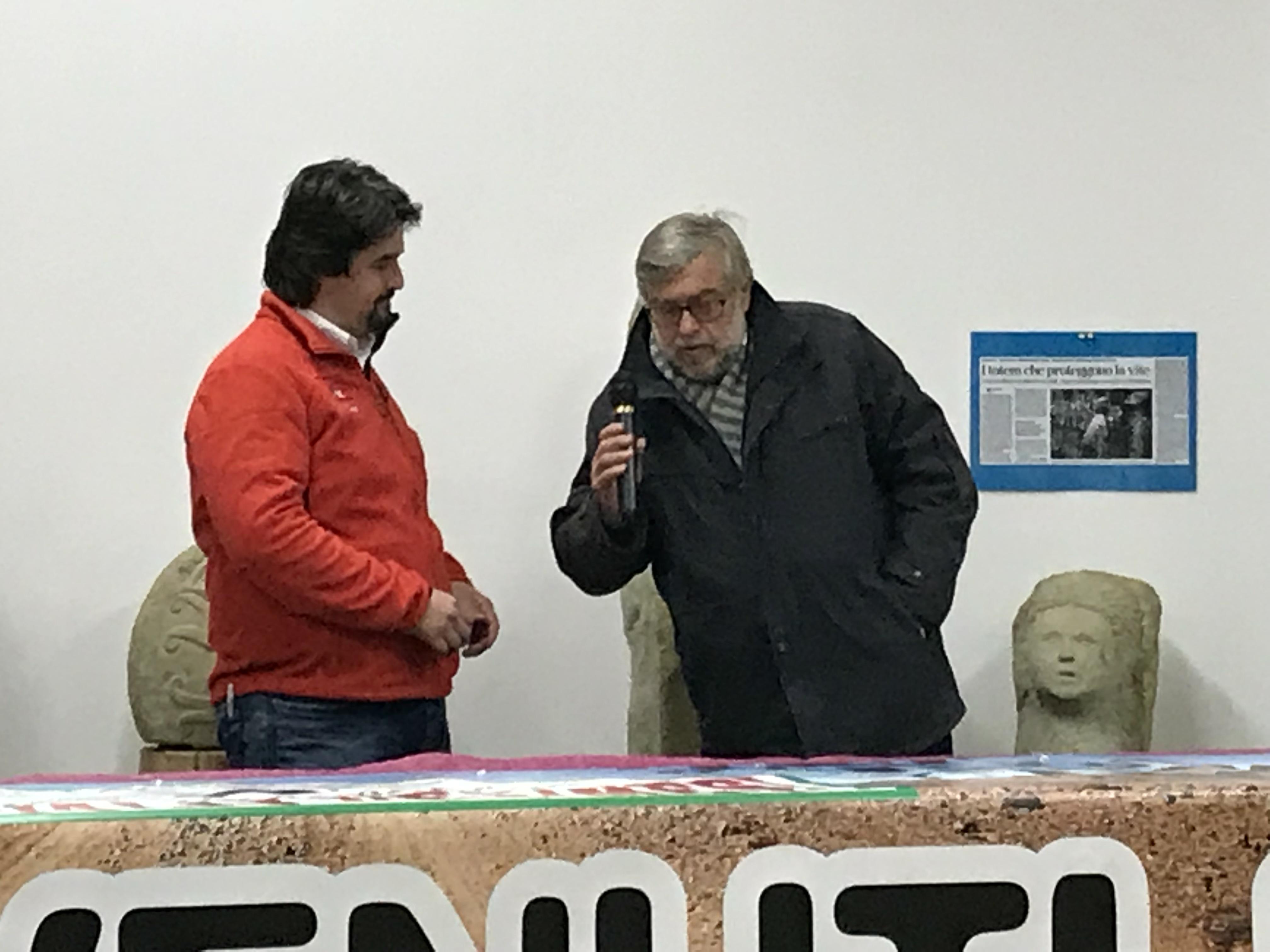 Luca Meneghetti e il sindaco di Monastero Ambrogio Spiota.
