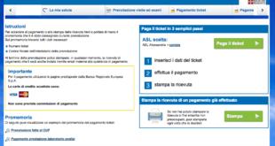 Schermata del sito per pagamento ticket
