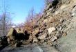 frana sulla strada tra Pareto e Spigno