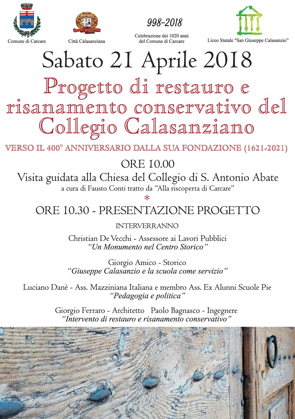 Presentazione del progetto di risanamento conservativo del Collegio Calasanziano