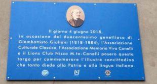 Targa commemorativa a Gian Battista Giuliani