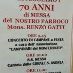 Castel Rocchero festa per i 70 anni di sacerdozio di mons. signor Gatti