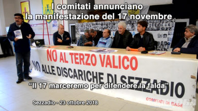 Sezzadio - I comitati annunciano la manifestazione del 17 novembre 2018 (VIDEO)