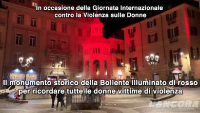 Acqui Terme - La Bollente illuminata di rosso per la giornata contro la violenza sulle donne (VIDEO)