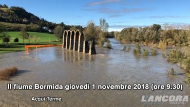Il Bormida ha rotto gli argini arrivando a bagnare gli Archi Romani (VIDEO)