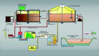 Schema di funzionamento di un biodigestore