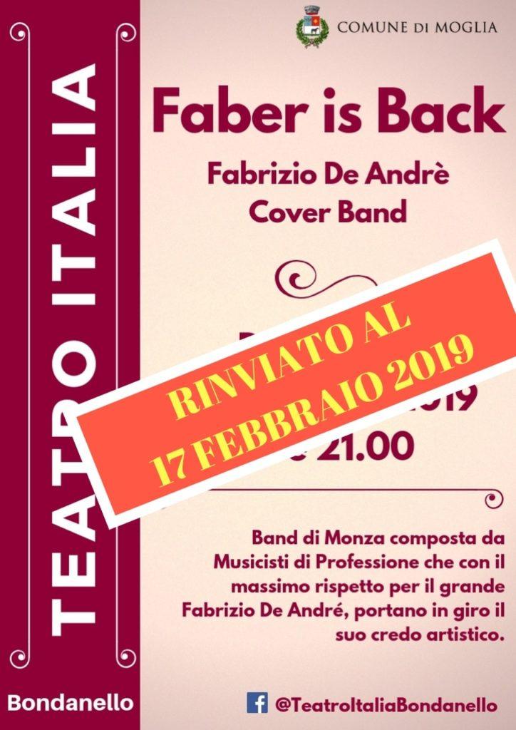 """Mioglia """"Faber is back"""" rinviato al 17 febbraio"""