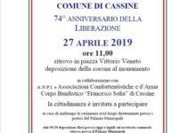 Cassine – il 74° della Liberazione si festeggia il 27