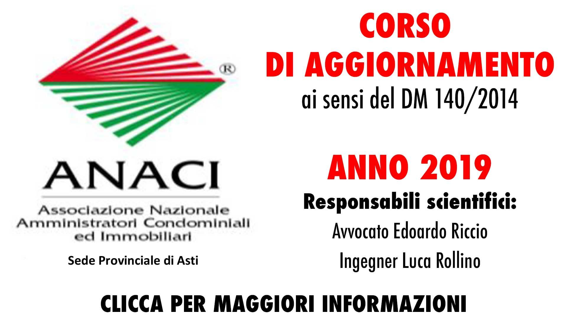 ANACI - corso di aggiornamento 2019 - clicca per maggiori dettaglio e modulo di adesione