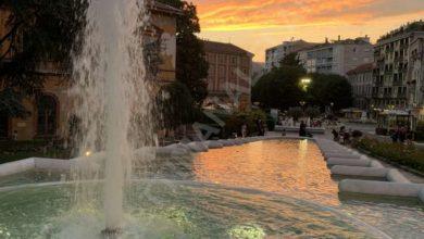 Photo of Il tramonto sulla fontana delle ninfee