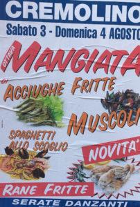 Cremolino, locandina mangiata pesce e rane