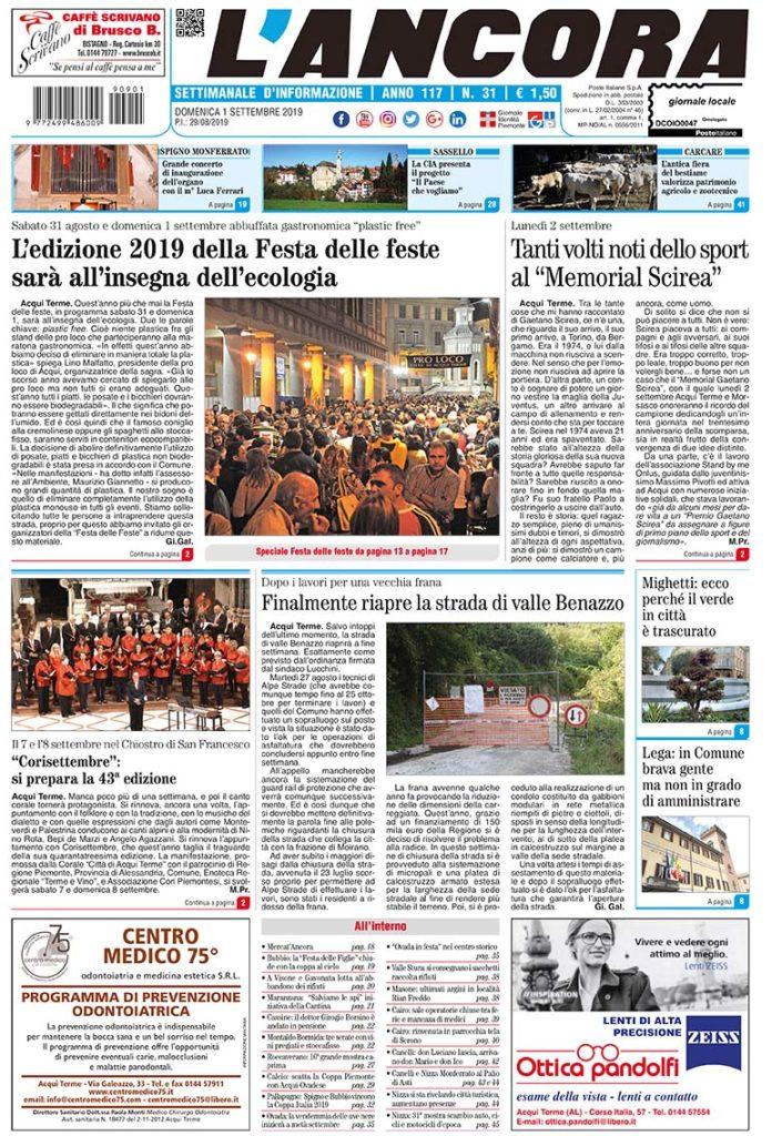 Prima pagina del N°31 del 1 settembre 2019
