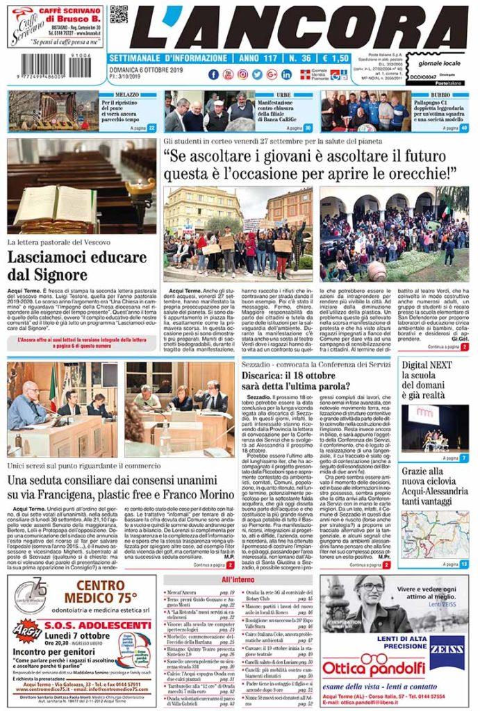 Prima pagina del N°36 del 6 ottobre 2019