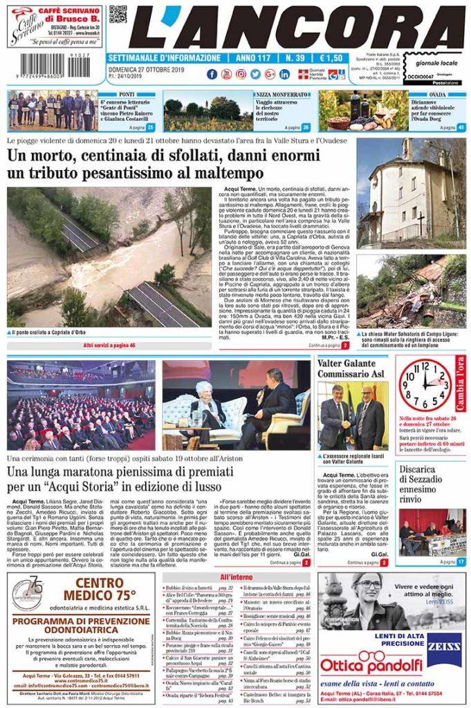 Prima pagina del N°39 del 27 ottobre 2019