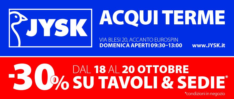 JYSK Acqui Terme 30% di sconto ad ottobre