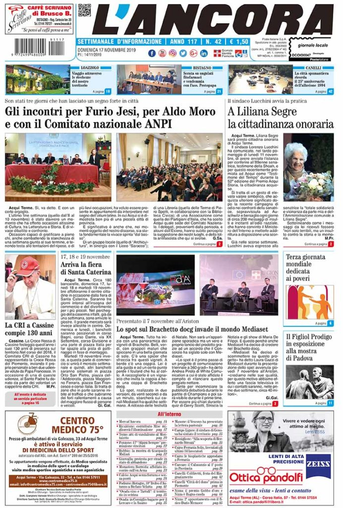Prima pagina del N°42 del 17 novembre 2019