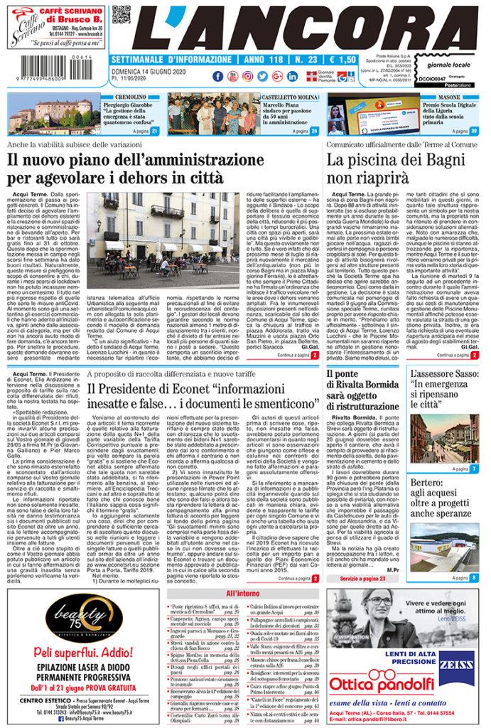 N°23 del 14 giugno 2020 - prima pagina