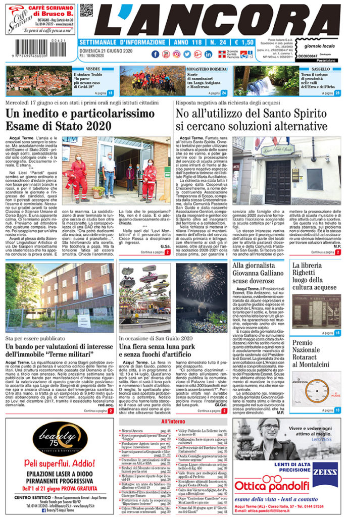 N°24 del 21 giugno 2020 - prima pagina