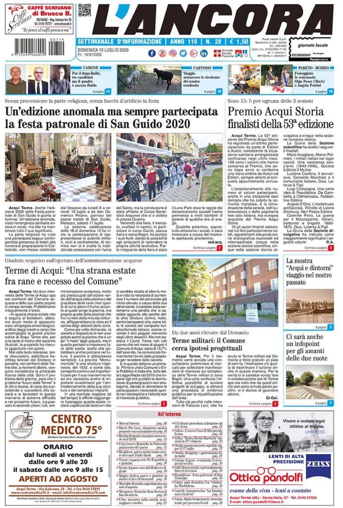 N°28 del 19 luglio 2020 - prima pagina
