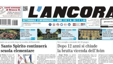 Photo of L'Ancora: sul numero 26 in edicola da giovedì 2 luglio…