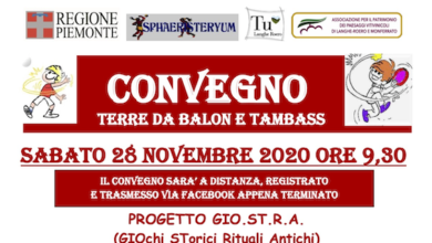 """Photo of Convegno on-line su: """"Terre da Balon e Tambass"""""""